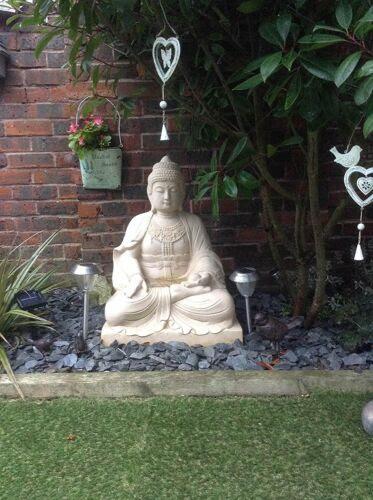 X Large White Limestone Lotus Buddha Stone Garden Ornaments Statue