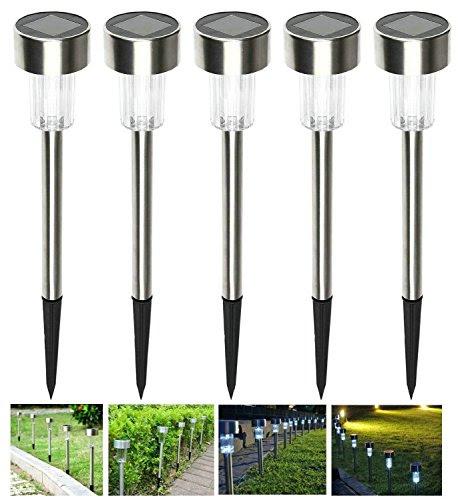 SZMINILED Solar Power Path Lights LED Garden Stake Light Stainless Steel Spot Lamp For Outdoor
