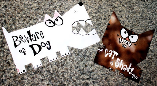 Dog and Cat Signs Combo: Beware of Dog and the Shady Cat by Rynski
