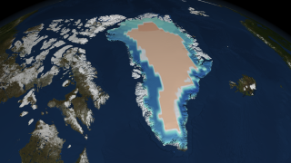 A high resolution still image of ice sheet mass changes over Greenland on 07/25/2009.