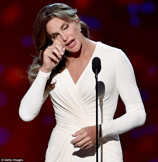 Courage award: Caitlyn Jenner tearfully thanked her family on Wednesday night while accepting the Arthur Ashe Courage Award at the ESPYs in Los Angeles