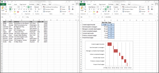 How do i open two excel files in a separate window in Excel 2013