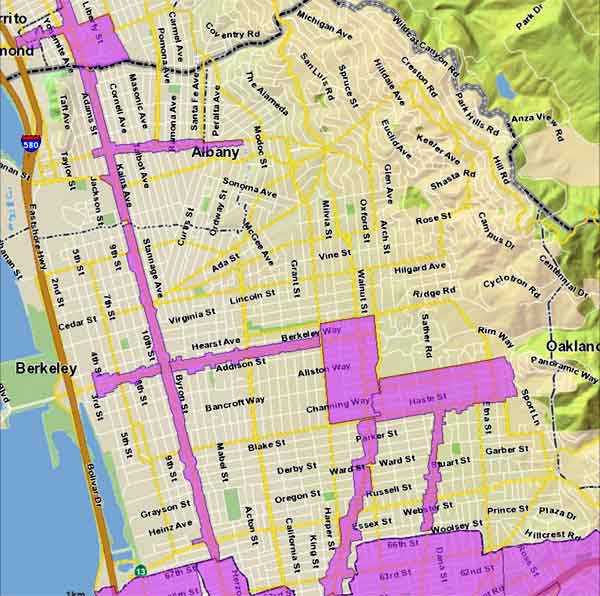 "The areas in pink are Priority Development Areas (PDAs) where ""by right"" zoning would prevail under a new proposal from Berkeley Mayor Tom Bates which will be discussed by the City Council on April 5. Residential areas immediately adjacent to these PDAs would be up-zoned to a distance of 200 feet or half a block."