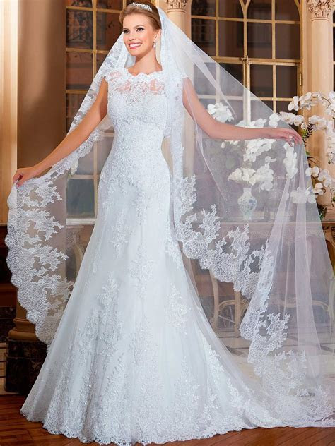 Summer Style White & Ivory Cathedral Wedding Veil Lace