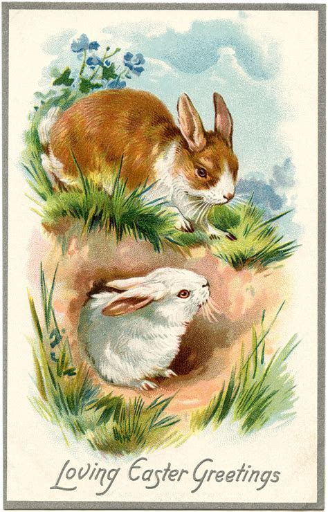 Vintage Easter Bunnies Card   The Graphics Fairy