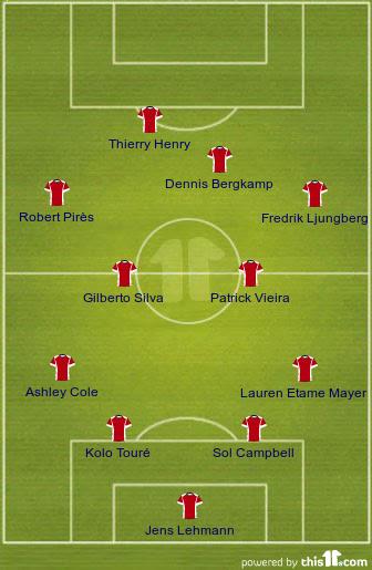 Arsenal Invincibles Starting 11
