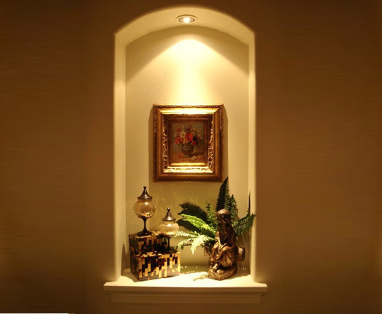 curved top wall niche with light | wall niches | Pinterest