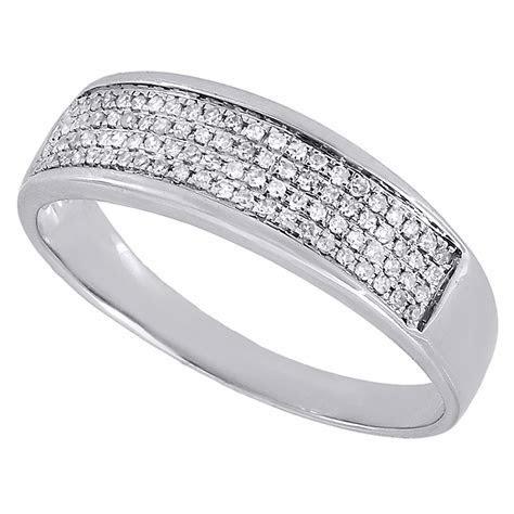 Diamond 4 Row Wedding Band Mens 10K White Gold Pave