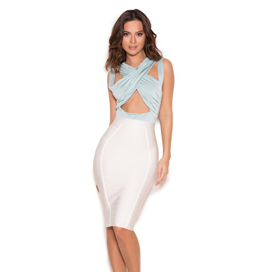 Bandage Skirt Pencil High Waist Striped 2018 New Arrivals Good Elastic Sexy Girl Midi Nude White Black Club Skirts Women