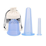 3pcs Jar Silicone Vacuum Cupping Cans for Massage ventouse anti cellulite Suction Cups Face Body Pain Relief Massage masajeador 3LP Blue