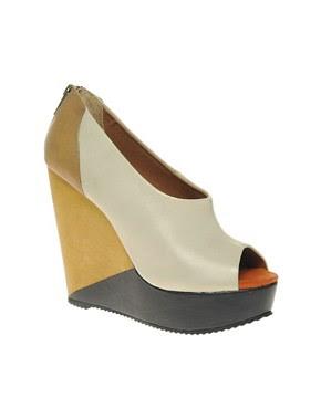 Image 1 ofALDO Krone Colour Block Wedge With Peep Toe