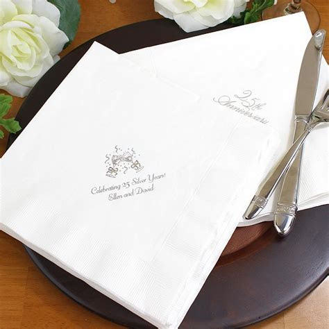 25th Wedding Anniversary Custom Printed Paper Dinner Napkins