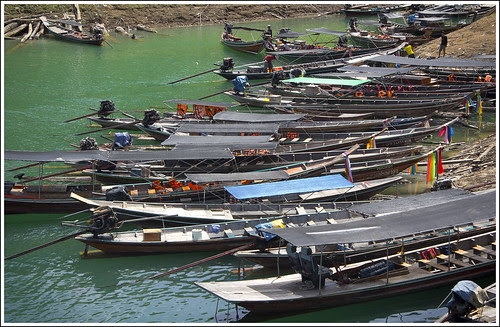 Longtail boats at Khao Sok