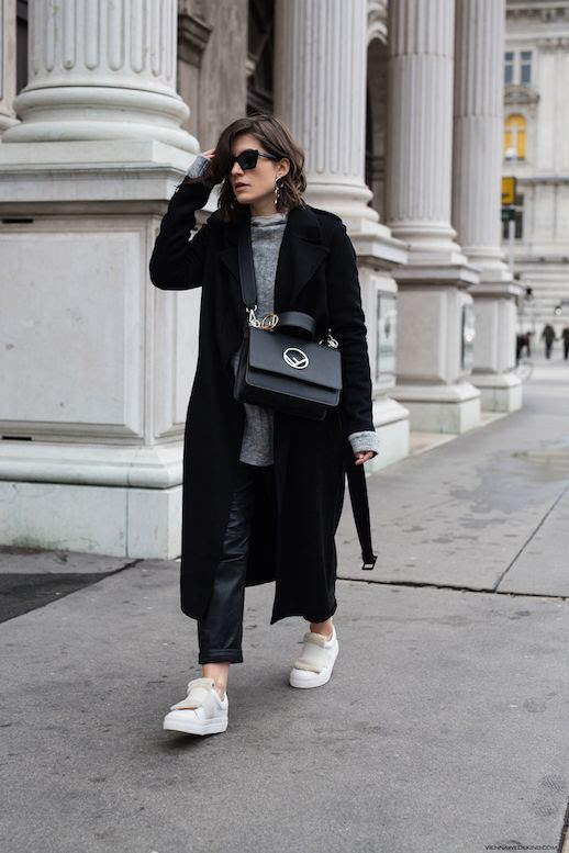 Le Fashion Blog Simple Minimal Winter Sunglasses Ribbed Sweater Black Coat Leather Pants White Fur Sneakers Via Viennawedekind