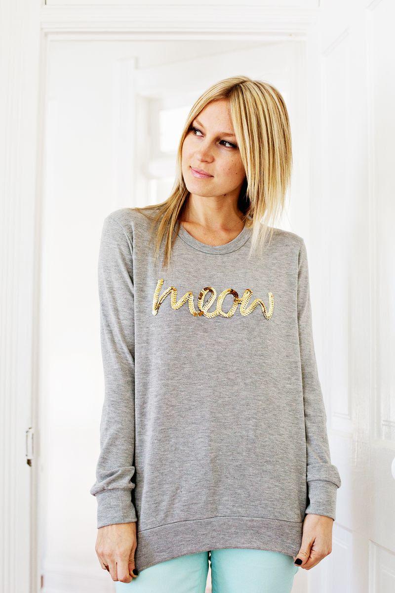 Sequin Phrase Sweatshirt DIY abeautifulmess.com