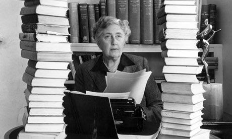 Agatha Christie at the typewriter surrounded by some of her 80 books. Photograph: CPL/Popperfoto #writers #workspaces #agathachristie