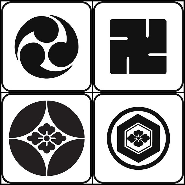 hidarimitsudomoe, manji, shipponihanabishi, marunikikkonihabnabishi (pattern - kamon)