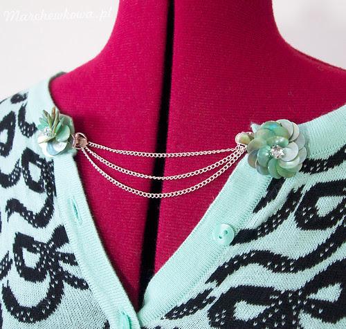 DIY Sweater Guard, klips do swetra, spinki krokodylki, łańcuszek, ogniwa sprężynkowe