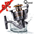 Qwest Telescopic Spinning Fishing Rod Carb Reel Bait Lure Line, Black