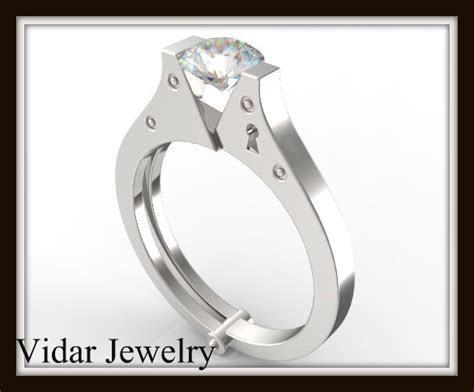 Moissanite Engagement Ring Unique Handcuff Ring Design