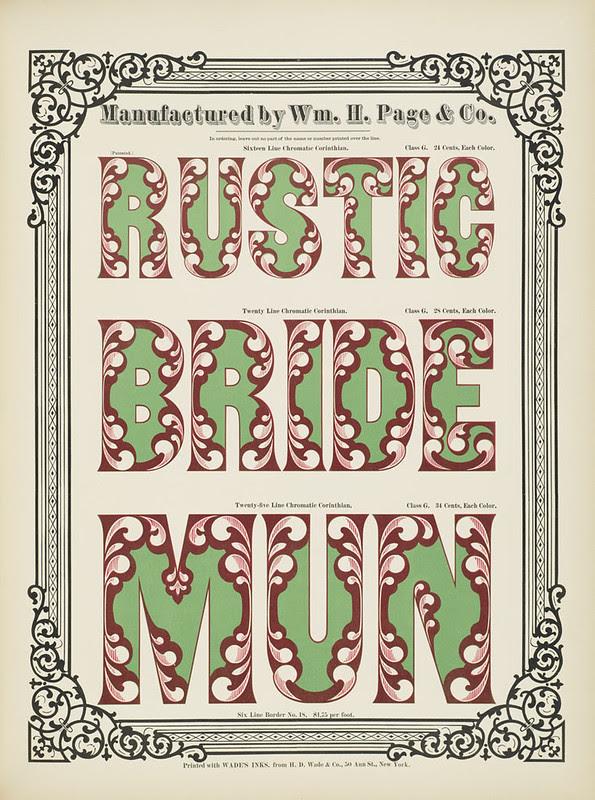 Specimens of chromatic wood type, borders 1874 - [via Columbia U] Rustic + Bride + Mun) Corinthian type