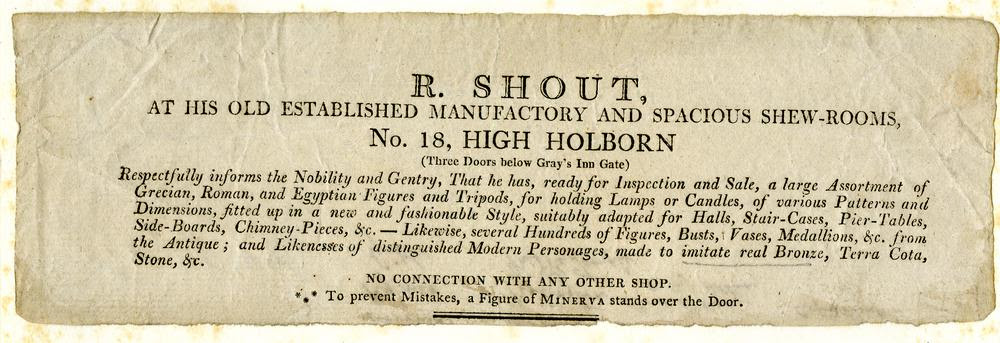 DRAFT Trade card of R Shout, sculptor & mason