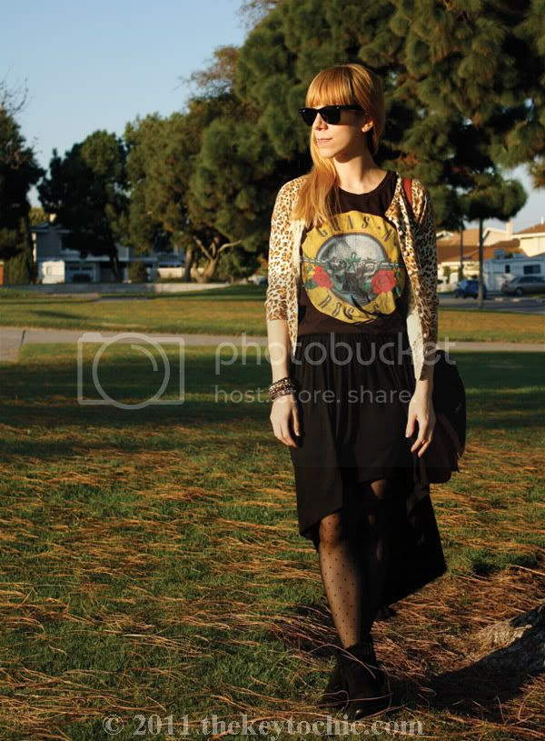 Forever 21 leopard cardigan, Guns N' Roses T-shirt, high-low skirt, Sam Edelman Louie boots, Los Angeles fashion blog