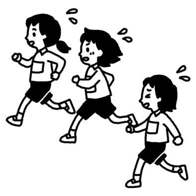 マラソン6マラソン冬の行事学校無料白黒イラスト素材