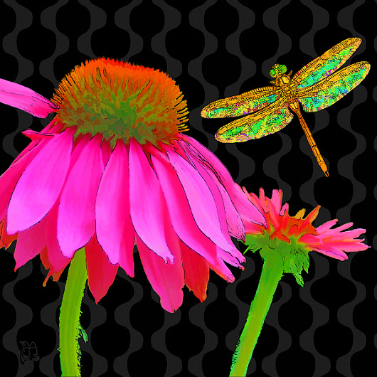 Flower Pop, Floral Pop Art Echinacea, Dragonfly by Tina Lavoie