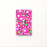 Pink Flower Power Light Switch Plate