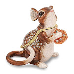 Bejeweled Mouse w/Cheese Trinket Box with Charm Pendant - BJ2069