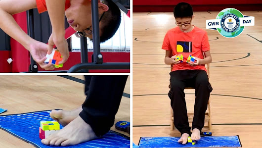 Teenager solves three Rubik's cubes with his hands and feet at the same time | Guinness World Records