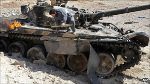 Destroyed tank near Ajdabiya, 26 March