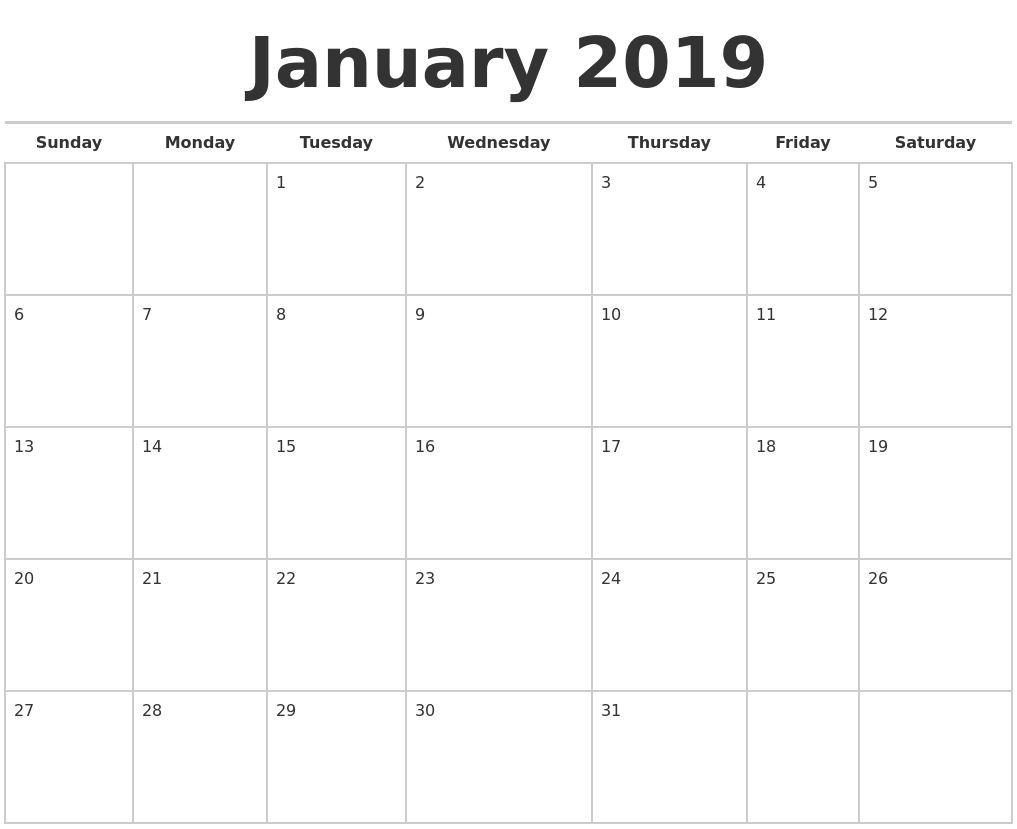 january 2019 calendars free full weekday