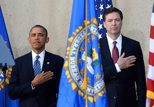 President Obama and new FBI director James Comey at the latter's installation ceremony. (Jewel Samad/AFP/Getty Images)