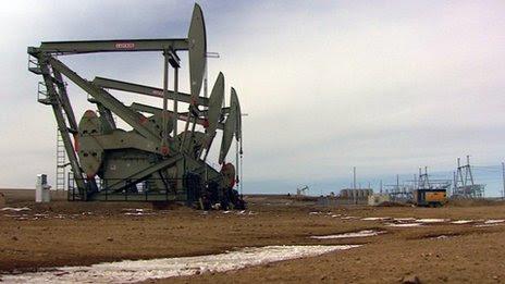 Oil derricks at Bakken