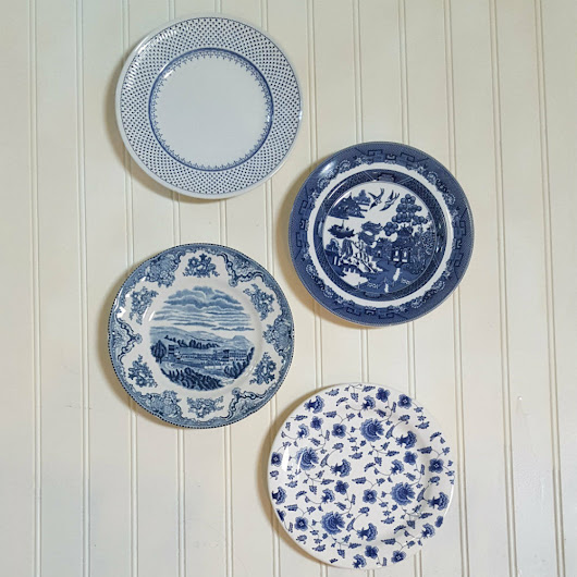 Details about  Set of 4 PLATES BLUE WHITE Transferware Dishes Ready to Hang Decor New & Vintage