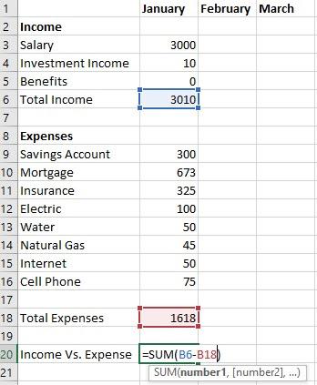 Excel Budget Income vs Expense