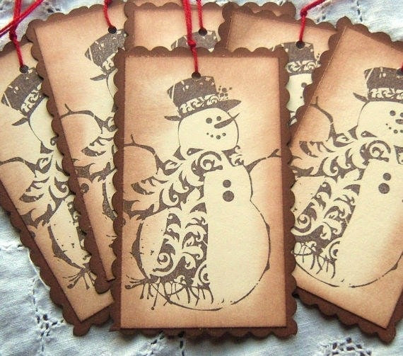Snowman Hang Tags - Brown, Manila, Hand Aged - Vintage Inspired