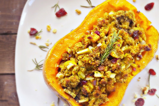 Roasted Butternut Squash with Cranberry-Apple Walnut Stuffing -
