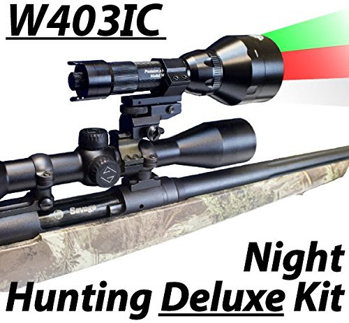 Wicked Lights W403IC Deluxe Night Hunting Kit With Green, Red, and White Intensity Control LED's for Predator, varmint & Hog complete 3 led light kit - outdoorsNsports