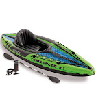 Intex Challenger K1 Inflatable Kayak with Oar and Hand Pump, Green/Blue