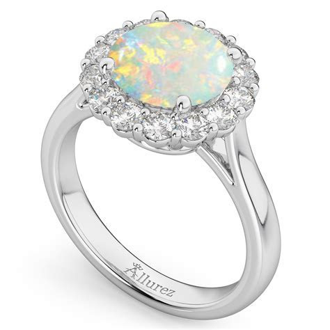 Halo Round Opal & Diamond Engagement Ring 14K White Gold 2