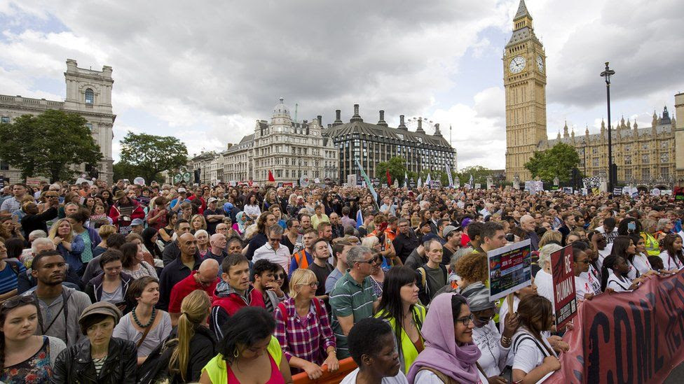 Pro-refugee rally in London. 12 Sept 2015