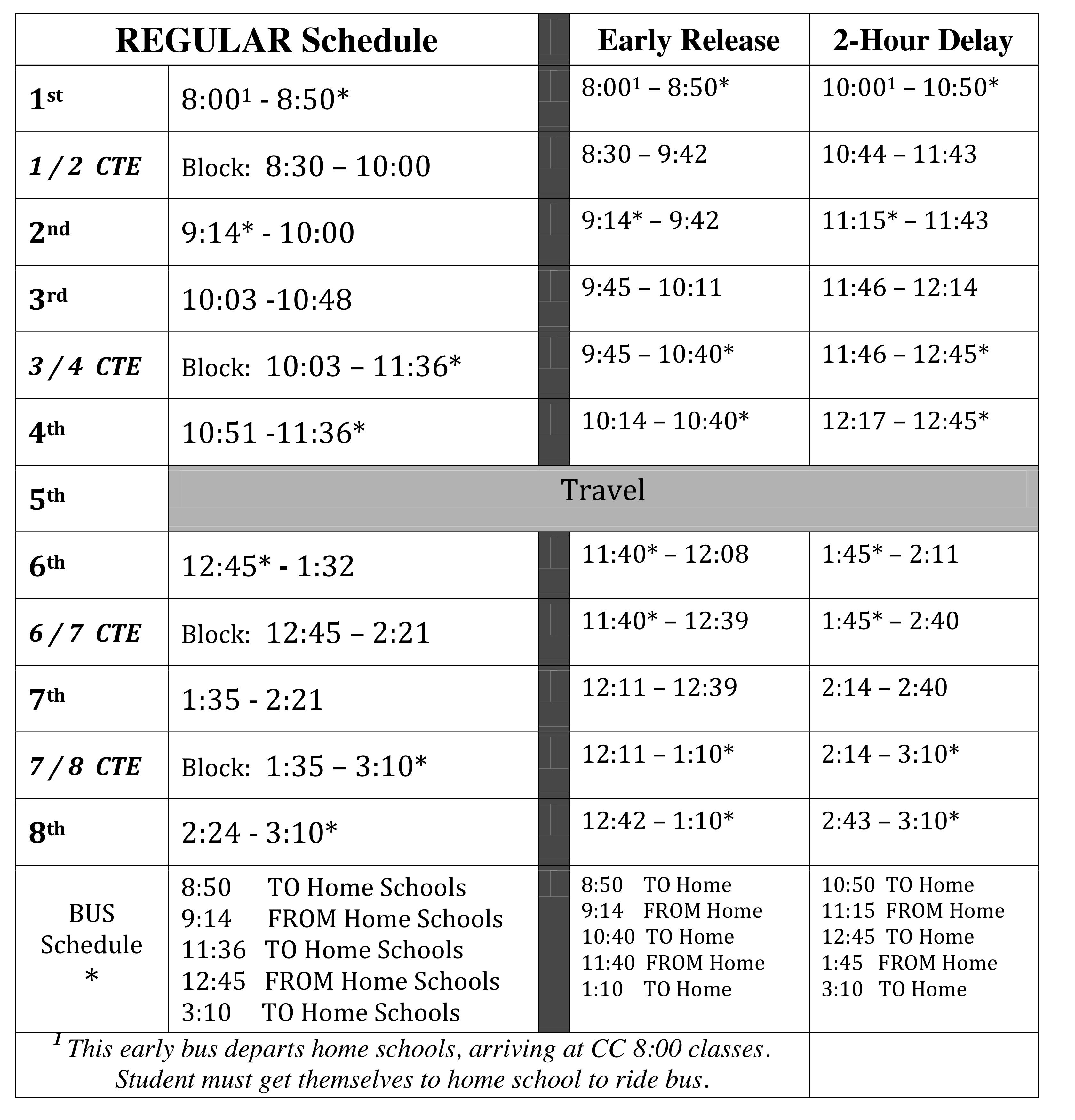 Student Handbook / Daily Schedule for Career Center