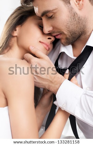 Beautiful sexy intimate couple hug each other - stock photo