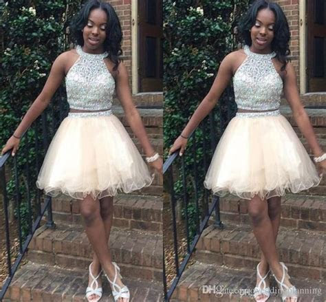 Light Champagne Short Homecoming Dresses For Teens Jewel