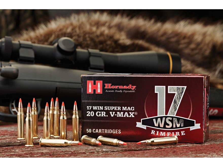 Hornady Ammo 17 Winchester Super Mag 20 Grain V Max Box of 50