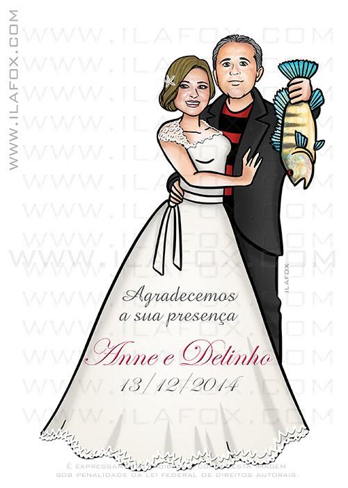 caricatura proporcional, caricatura casal, caricatura casamento, caricatura bonita, lembrancinha casamento, noivo segurando peixe, by ila fox