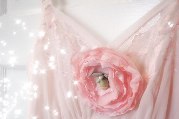 Lingerie: Vintage Chemise with Large Rose Brooch in Pale Pink - Mireio